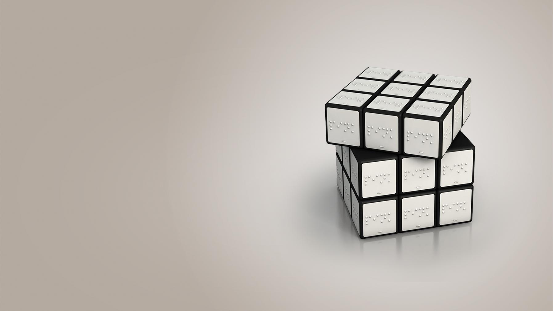 White Braille Cube